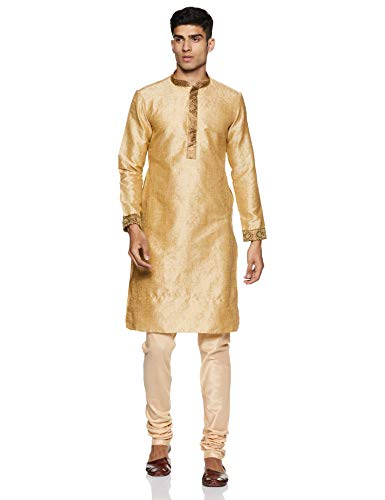 Manyavar Men's Regular Fit Banded Collar Designer Kurta & Churidar Set (Biscuit, - Kurta Mens