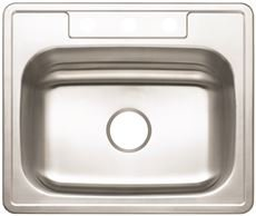Premier 3562894 3-Hole Single Bowl Sink, 22-Gauge, Stainless Steel, 25'' X 22'' X 7'', 19.877 '' x 19.877 '' x 19.877'' by Premier