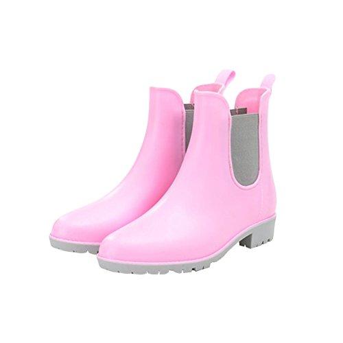 Zhuhaixmy Damen Beiläufig Elastisch Martin Rainboots Regen Stiefel Wasserdicht Gummi Regen Schuhe Ankle Boots Wasser Schuhe FGsCZ