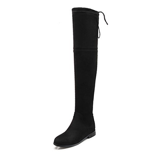 Cheap Sexy Halloween Costumes 2016 (Meeshine Women's Suede Over The Knee Thigh High Winter Low Heel Boots Fur Black US 7)