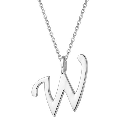 FANCIME Sterling Silver Gold Plated Initial Necklace High Polish Monogram Letter Initial W Pendant Necklace Fine Jewelry for Women Girls 16