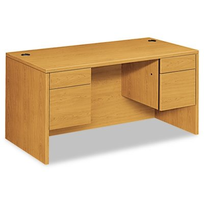 - HON 10500 Series Double Pedestal Desk Shell -Executive Office Desk Shell, 60w x 30d x 29.5h, Harvest (H10573)