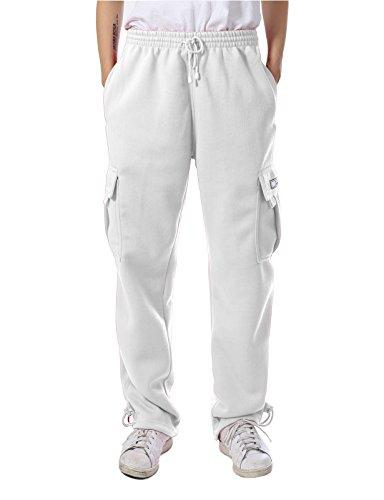 JD Apparel Mens Regular Fit Premium Fleece Cargo Pants L Whi