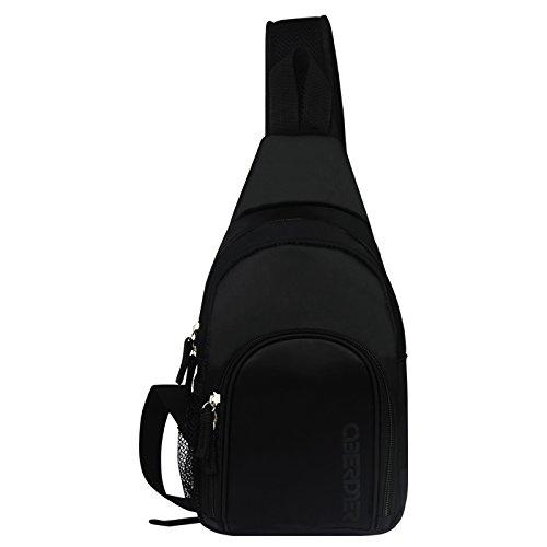 Sling Bag Chest Shoulder Unbalance Gym Fanny Backpack Sack Satchel Outdoor Bike (Black)
