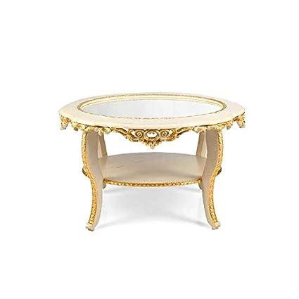 Tavolini Da Salotto Classici In Foglia Oro.Mocada Tavolino Classico Ovale Da Salotto Intagliato A