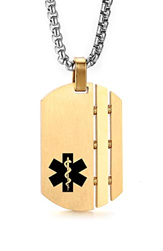 JF.JEWELRY Customize Stainless Steel Medical Alert ID Pendant Necklace for Men and Women-Gold ()