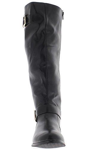 Rellenos de cintura femenina de la grande de botas negra con tacón de 3,5 cm