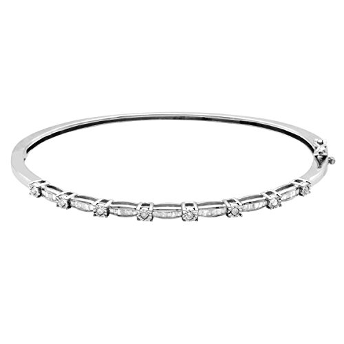 - JewelExclusive Sterling Silver .50 CTTW Diamond Hinged Bangle