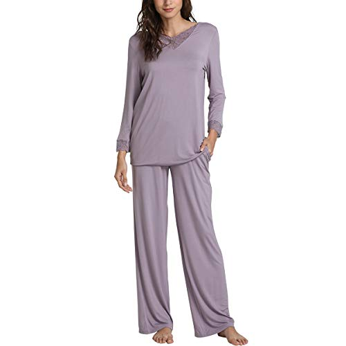 WiWi Bamboo Long Sleeve Moisture Wicking Sleepwear for Women Laced V Neck Pajamas Pants Set, Violet, Small