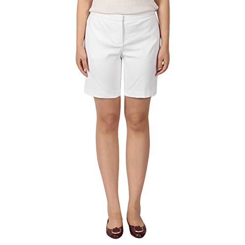 KELLY KLARK Chino Bermuda Shorts, Women's Relaxed Comfort Stretch Fashion Performance Casual Knee Length Shorts, White Size 2 ()