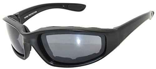 Black Motorcycle Padded Foam Glasses Smoke Lens for Outdoor Activity Sport OWL by OWL (Image #6)