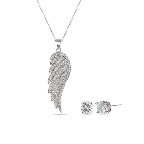 Angel Wing Necklace Set - 14K White Gold Plated Clear Austrian Crystal Rhinestone CZ Stud Jewelry Set for Teen Girls Women Party Vacation Everyday Austrian Crystal Angel Necklace