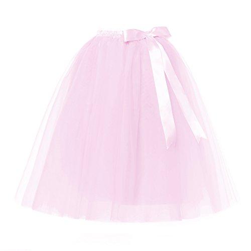 LSCY Femmes 7 Couches Tulle Midi/Genou Longueur Jupe Ruban Bowknot Tutu Jupes Princesse Jupon 5 Tailles Beaucoup de Couleurs Rose Clair