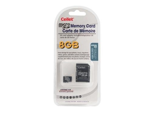 Phone Blackberry Card Memory Pearl - Cellet 8GB MicroSD for BlackBerry 9100 Pearl (RIM) custom flash memory, high-speed transmission, plug and play, with Full Size SD Adapter. (Retail Packaging)