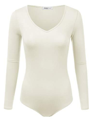 Doublju Womens Stretchy V-Neck Soft Knit Bodysuit with Plus Size Ivory Large