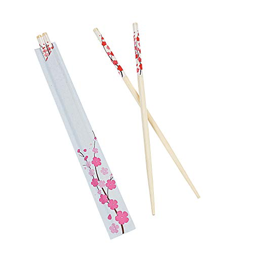 (Fun Express - Cherry Blossom Chopsticks (24pc) for Wedding - Party Supplies - Solid Tableware - Cutlery - Wedding - 24 Pieces)