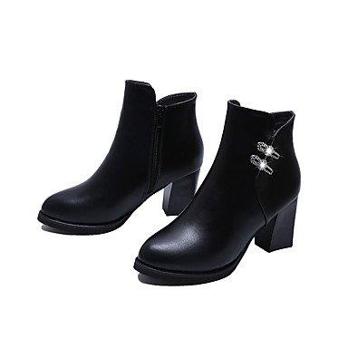 2 Talon à Bottes Noir Bourgogne 5 Automne 4 5 Gros Printemps black Strass Décontracté GLL Polyuréthane Femme amp;xuezi Confort cm vq1Z1w