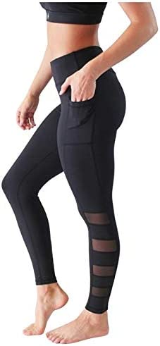 【USA in Stock】 High Waist Women's Yoga Pants with Pockets 4 Way Stretch Athletic Leggings Tummy Control Workout Running Pants