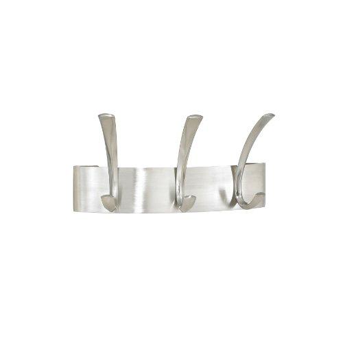 Safco 4204SL Metal Coat Rack Steel Wall Rack Three Hook 10-3/4w x 4-1/2d x 5-1/4h Silver