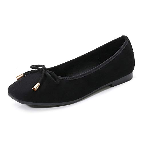 Meeshine Womens Buckle Slip On Loafer Casual Low Flats Square Toe Shoes Bow Black 8.5 US