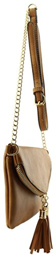 envelope bag shoulder crossbody chain Tan small leather tassels with detail Soft detail xaIAq