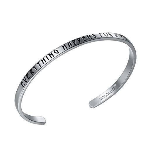 Solocute Sterling Silver Bangle Bracelet Engraved Everything Happens for A Reason Inspirational Jewelry, Womens Cuff Bracelets ()