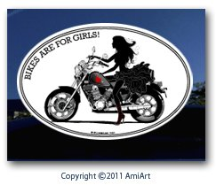 Motorcycle Accent Cruiser - Motorcycle Decal-Lady CRUISER biker- BIKES ARE FOR GIRLS! I Ride My Own sticker decal for car window truck wall