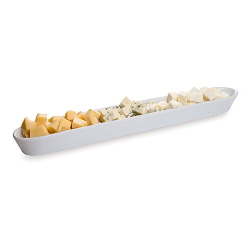 - White Porcelain Olive Plate, Cheese Plate, Party Plate, Tray - 12 Inches Long - 10 oz - 1ct Box - Restaurantware