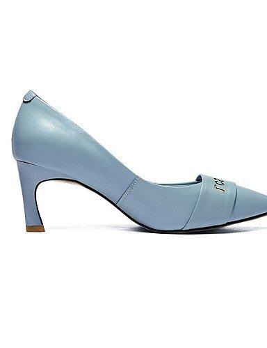 GGX/ Damenschuhe-High Heels-Büro / Lässig-Leder-Blockabsatz-Absätze / Spitzschuh-Blau / Rosa / Weiß white-us7.5 / eu38 / uk5.5 / cn38