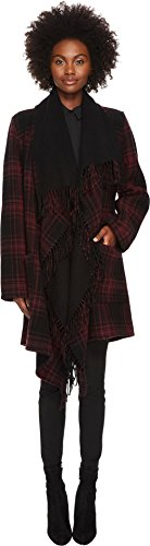 The Kooples Women's Mid-Length Check Poncho Red One Size by The Kooples