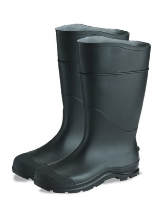 "Radnor 64055866 16"" PVC Economy Boots, Lugged Outsole Steel Toe, Size 12, Black"