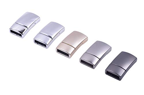 KONMAY 10 Sets 11.0x3.0mm Flat Magnetic Jewelry Clasps for Bracelets, Mixed 5 Colors]()