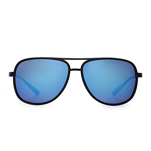 Retro Polarized Aviator Sunglasses Mirror Lightweight Eyeglasses for Men Women (Shiny Black / Polarized Mirrored - Plastic Eyeglasses Aviator