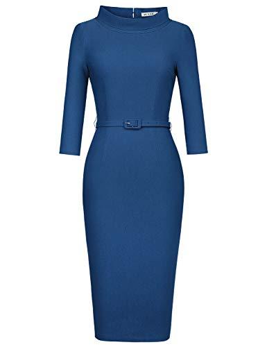 MUXXN Women's Retro 60s Half Sleeve Bodycon Knee Length Cocktail Mid Dress (Navy Blue M)