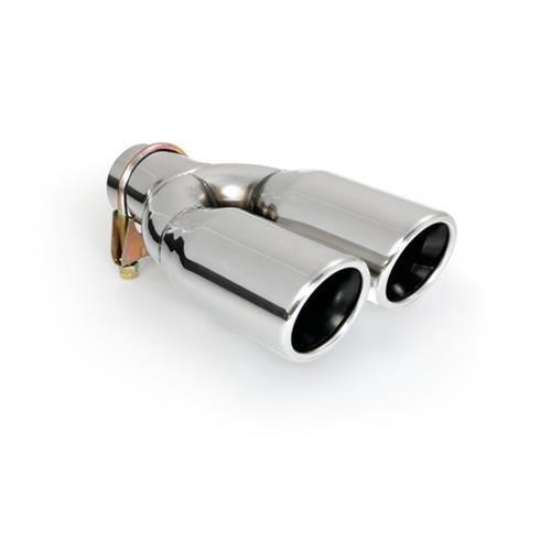 silencieux /à Garniture pour visser universel noir//chrome Double embout d/échappement Sortie en acier inoxydable poli ER60020