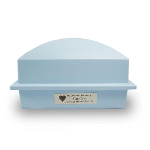 Cremation Urn Vault Plastic Outdoor Memorial Vault - Blue with Engraving Urn Vault for Burial - Custom Engraving Included