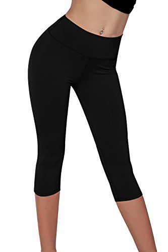 - Splendor flying Women's Capri Legging Yoga Pants (Small, Black)