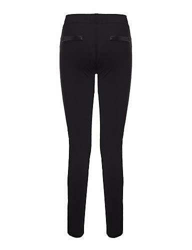 Yfltz Femme Street Couleur Pour Noir Pantalon Chic Patchwork Uni Bq5R5Hw