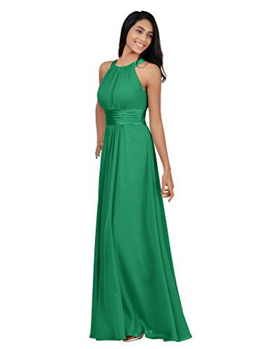 Alicepub Sleeveless Bridesmaid Dresses Long for Women Formal Elegant Halter Evening Dresses for Weddings Empire Maxi Party Prom Gown, Emerald, US8