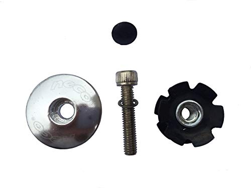 (Neco 1-1/8 inch MTB Mountain Road Bike Headset Stem Plug Alloy Top Cap Bolt + Star Nut (Silver) )