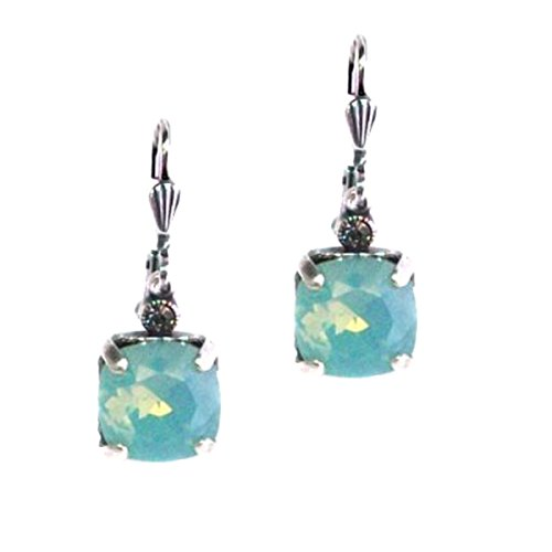 Catherine Popesco Silver Plated Square Pacific Blue Swarovski Crystal Drop Earrings