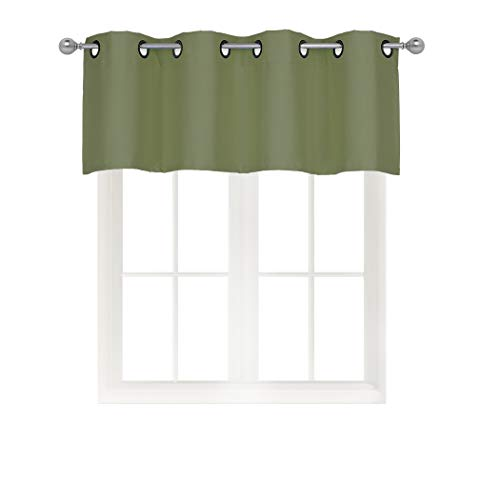 Home Queen Solid Grommet Top Blackout Curtain Valance Window Treatment for Living Room, Short Straight Drape Valance, Set of 1, 54 X 18 inch, Olive Green