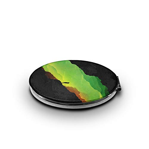 TRENDCAT Double Sided Green Mountain Climber Makeup Mirror - Compact Folding Vanity Magnifying and Travel Mirror ()