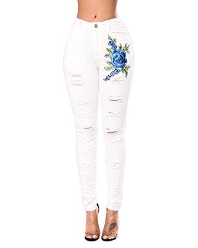 ZhuiKunA Femmes Jeans lastique Dlav Dchir Coupe Slim Leggings Maigre Pantalon Grande Taille Taille Haute Blanc