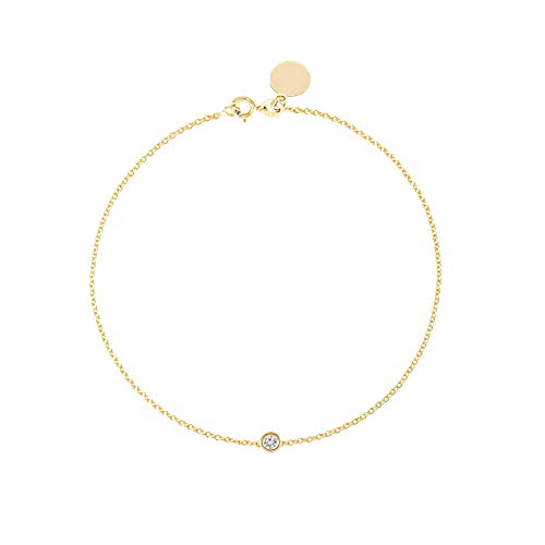 Solitaire Diamond Bracelet - Solid Yellow White Rose Gold -14K or 18Karat - Dainty and Simple Bezel Set - Free Engraving - Graceful Gift for Women (0.05 CT Diamond SIZE 8'' 14K Yellow Gold)