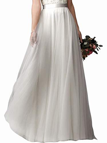 Lanierwedding Summer Beach Tulle Long High Waist Maxi Skirt with Belt for Wedding 2017 (M, Light Grey)