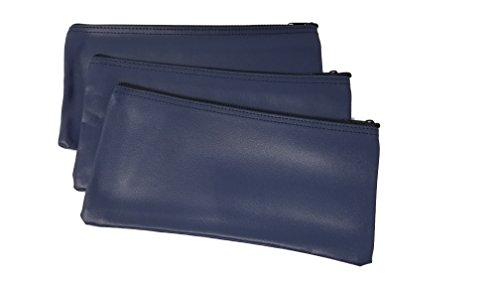 3-Piece Set PM Company Security Bank Deposit / Utility Zipper Coin Bag / Pouch Safe Money Organizer Bag / 11 X 5.5 Inches (Navy)