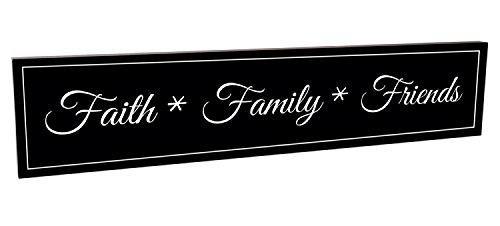 Faith Family Friends Black and White 5 x 24 Carved Wood Wall Art Sign Plaque by MRC Wood Products