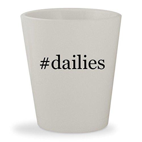 Dailies   White Hashtag Ceramic 1 5Oz Shot Glass