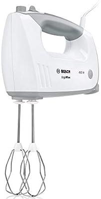 Bosch ErgoMixx MFQ36460, Batidora y Amasadora para Repostería, 450 W, Varillas Batidoras, Garfios Amasadores y Bol Giratorio, Color Blanco: Amazon.es: Hogar